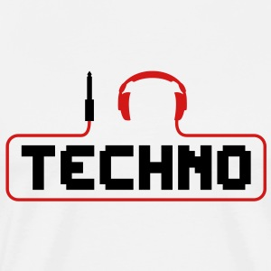 I Love Techno headphones music minimal gabber club bass beat hardcore Hoodies - Men's Premium T-Shirt