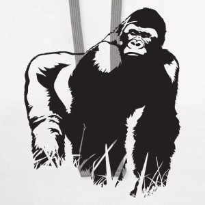 King Gorilla HD Design T-Shirts - Contrast Hoodie
