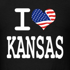 i love kansas - white Hoodies - Men's T-Shirt