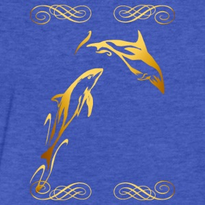 Two Gold Dophins framed - Fitted Cotton/Poly T-Shirt by Next Level