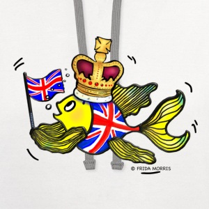 British fish holding UK Flag wearing a Crown - Contrast Hoodie