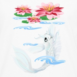 Silver Koi-Pink and Pink Lilies - Men's Premium Long Sleeve T-Shirt