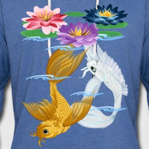 Gold and Silver Koi - colorful lilies - Unisex Lightweight Terry Hoodie