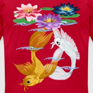 Gold and Silver Koi - colorful lilies - Men's T-Shirt by American Apparel