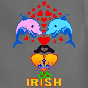 ★㋡♥ټI Love Irish-Cute Dolphin Couple-Unisex Tie Dye T-Shirtټ♥㋡ - Adjustable Apron