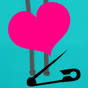 HEART family baby safety pin  T-Shirts - Contrast Hoodie