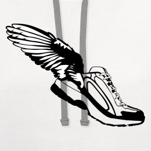 Winged Shoes HD Design T-Shirts - Contrast Hoodie