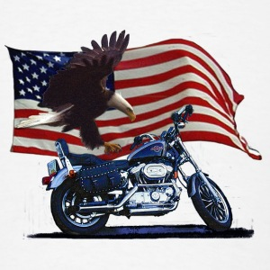 Wild & Free - Patriotic Eagle, Motorbike & US Flag - Men's T-Shirt