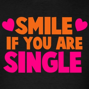 SMILE IF YOU ARE SINGLE with cute little love hearts Tanks - Men's T-Shirt