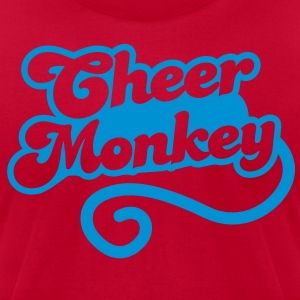 cheer monkey with a tail  (Cheerleader shirt design) Long Sleeve Shirts - Men's T-Shirt by American Apparel