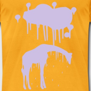 Giraffe Graphic Design Picture Vector - Cool Silver Animal Graffiti Giraffe Getting Rained on By a Paint Splatter Cloud! Emo, sad, funny, joke, cute Great for Ipad cases, iphone cases, hoodies, tshirts, tank tops, etc! Bags  - Men's T-Shirt by American Apparel