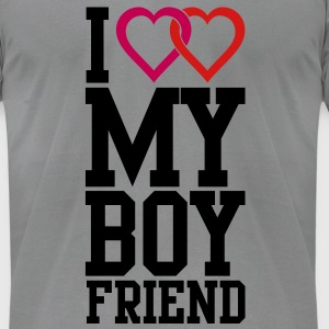 I love my Boyfriend Long Sleeve Shirts - Men's T-Shirt by American Apparel