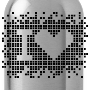 I heart - love - Pixel Design Hoodies - Water Bottle
