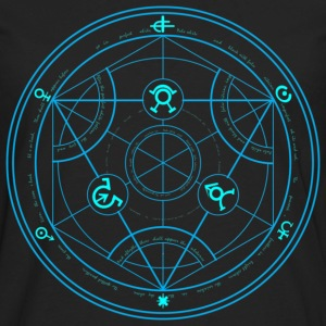 Human Transmutation Circle and Formula - No Glow - Reverse - Men's Premium Long Sleeve T-Shirt