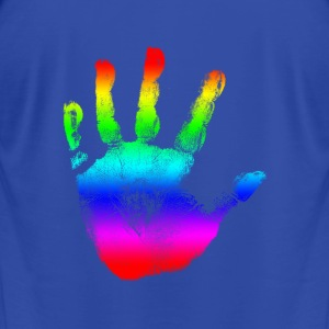 Hand print - Rainbow - Imprint, Fingerprint, palm, high five perfect for hoodies, tshirts, tanks, iphone cases, ipad cases, etc!  Hoodies - Men's T-Shirt by American Apparel