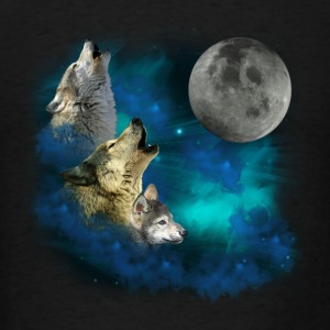 Northern Lights  Wolfs family moon 2 Sweatshirts - Men's T-Shirt
