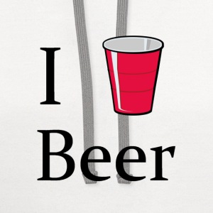 i love beer i heart red solo cup - Contrast Hoodie