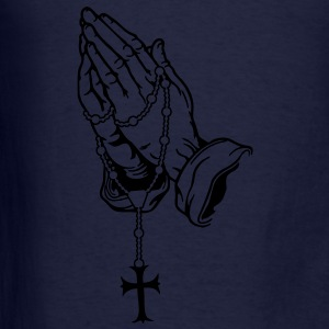 Praying Hands with Rosenkranz - Men's T-Shirt