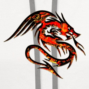 Dragon fire , digital, red Women's T-Shirts - Contrast Hoodie