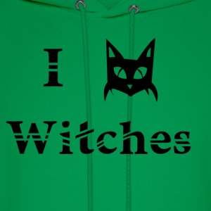 i love witches black cat magic witchcraft pagan wicca  - Men's Hoodie