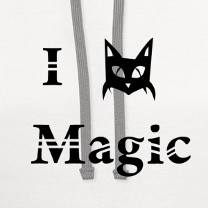 i love black cat magic witchcraft pagan wicca  - Contrast Hoodie