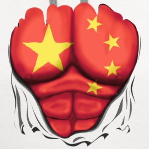 China Flag Ripped Muscles, six pack, chest t-shirt - Contrast Hoodie