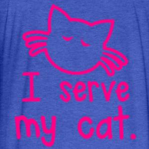 I SERVE MY CAT with cute little kitty face Sweatshirts - Fitted Cotton/Poly T-Shirt by Next Level