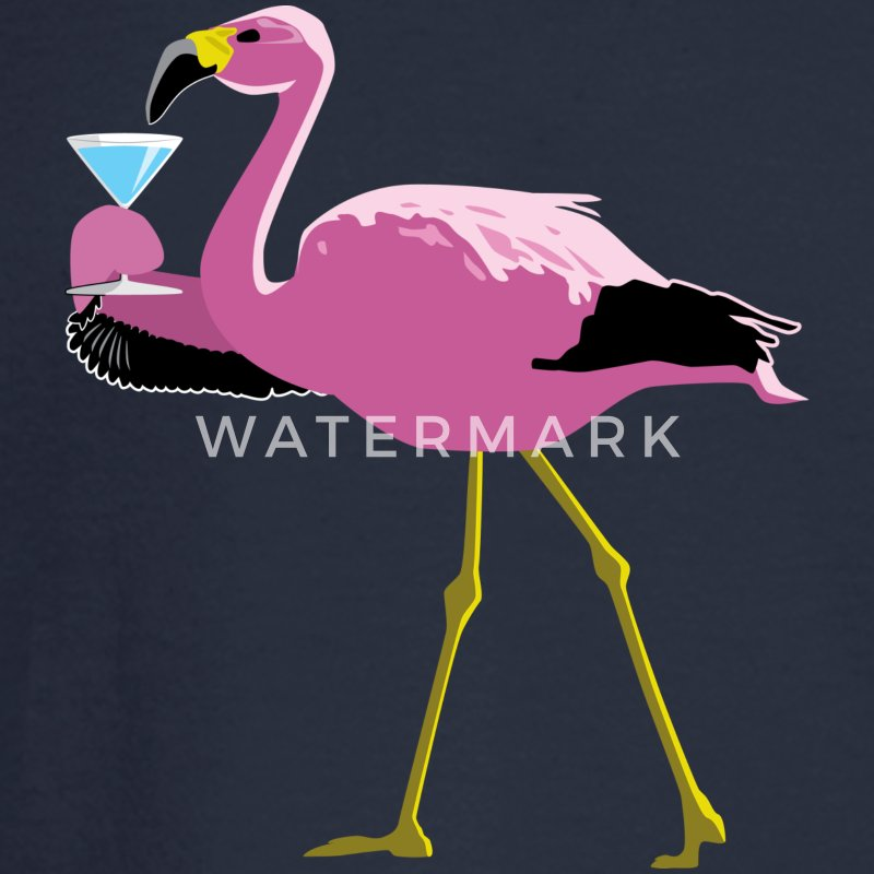 Pink Flamingo Drinking A Martini - Men's Long Sleeve T-Shirt