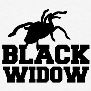 BLACK WIDOW killer spider Tarantula rearing in attack Buttons - Men's T-Shirt