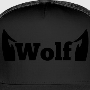 wolf in type with cute ears Long Sleeve Shirts - Trucker Cap
