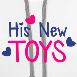 His new toys with cute little love hearts funny! T-Shirts - Contrast Hoodie