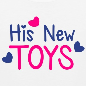 His new toys with cute little love hearts funny! T-Shirts - Men's Premium Tank