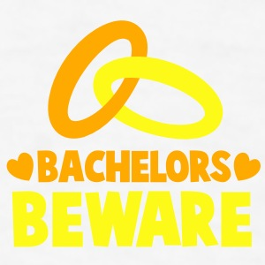 BACHELORS BEWARE with rings and love hearts Gift - Men's T-Shirt