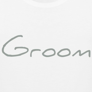 Groom Text Graphic | You can change the color of the Groom Graphic Text! - Men's Premium Tank