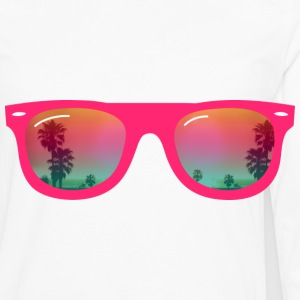 sunglasses palms and beach Buttons - Men's Premium Long Sleeve T-Shirt