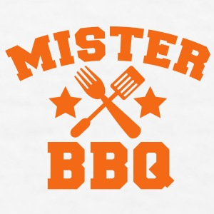 MISTER BBQ barbecue with grilling fork spatula and stars Gift - Men's T-Shirt