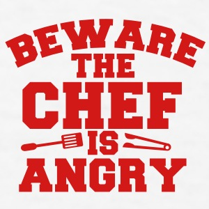 BEWARE warning the CHEF IS ANGRY! with spatula and BBQ tongs Gift - Men's T-Shirt