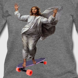 Jesus with Skateboard Longboard T-Shirts - Women's Wideneck Sweatshirt