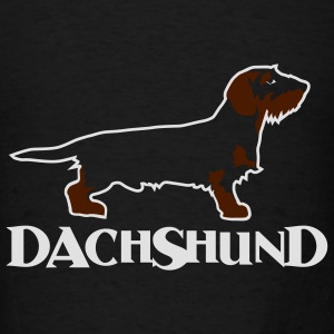 dachshound on black - Men's T-Shirt