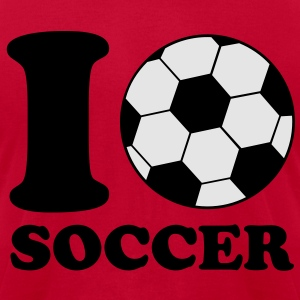 I Love Soccer Hoodies - Men's T-Shirt by American Apparel