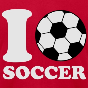 I Love Soccer V2 Hoodies - Men's T-Shirt by American Apparel