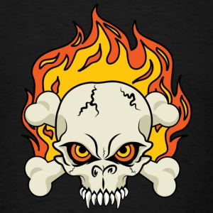 Flaming Skull and Crossbones Sweatshirts - Men's T-Shirt
