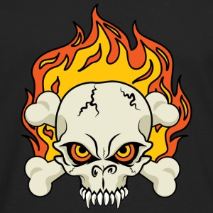 Flaming Skull and Crossbones Sweatshirts - Men's Premium Long Sleeve T-Shirt