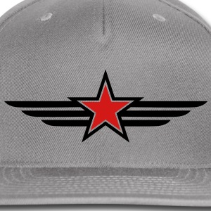 SHARP shape red and BLACK star outlined with wings Accessories - Snap-back Baseball Cap