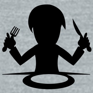 hungry food eating guy knife and fork Accessories - Unisex Tri-Blend T-Shirt by American Apparel