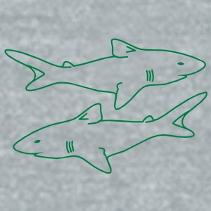 two sharks outlines menacing evil realistic Accessories - Unisex Tri-Blend T-Shirt by American Apparel