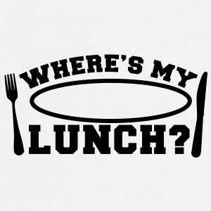 WHERE's MY LUNCH? with knife and fork and plate Accessories - Men's Premium T-Shirt