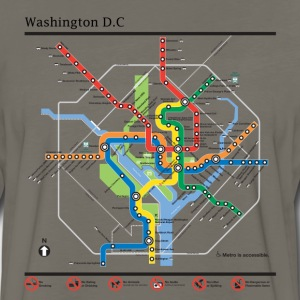 Washington DC subway map lines t-shirt - Men's Premium Long Sleeve T-Shirt