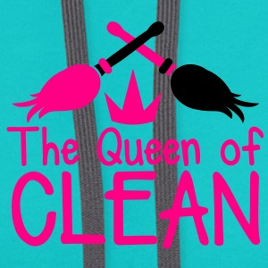 THE QUEEN of CLEAN! with feather dusters crown T-Shirts - Contrast Hoodie