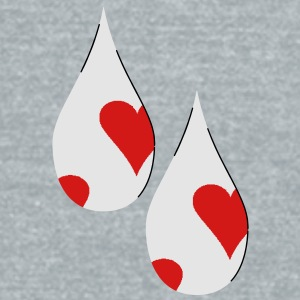 Tear Drops with hearts - Unisex Tri-Blend T-Shirt by American Apparel